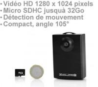 Micro Enregistreur audio-vidéo HD 1280 x 1024 à détection de mouvement