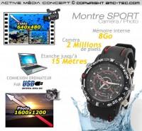 Montre sport caméra audio vidéo 8 Go de mémoire 640 x 480 pixels waterproof