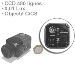 Mini camera filaire CCD couleur ex-view 480 lignes objectif C-CS