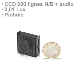 Micro camera filaire CCD 600 lignes noir et blanc audio incorpore et objectif Pinhole
