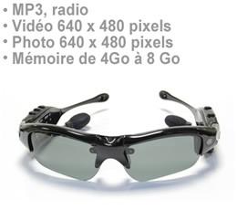Lunette caméra audio vidéo appareil photo et lecteur MP3 8Go