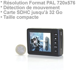 Micro Enregistreur audio video 720 x 576 px sur carte SDHC avec détection de mouvement