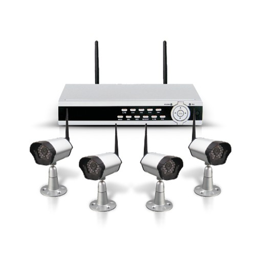 kit videosurveillance complet sans fil num rique avec 4 cam ras infrarouge et un. Black Bedroom Furniture Sets. Home Design Ideas