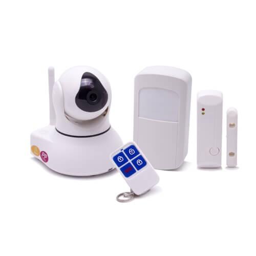 Système caméra pilotable et alarme IP WiFi 720P avec capteur de présence et d'ouverture de porte