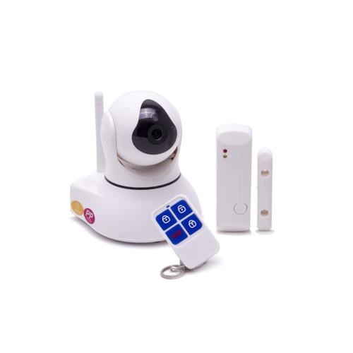 Système caméra pilotable et alarme IP WiFi 720P avec détecteur d'ouverture de porte