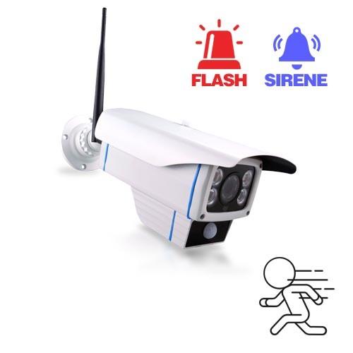 Caméra IP Wi-Fi HD 1080P avec alarme buzzer et flash LED en cas de détection de mouvement, mémoire 128 Go