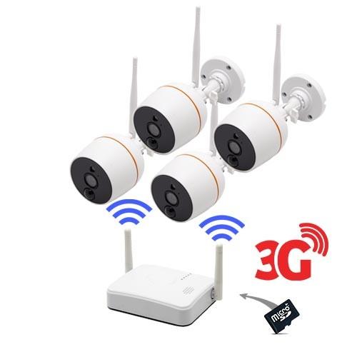 Kit vidéosurveillance 3G avec 4 caméras Wi-Fi HD 1080P