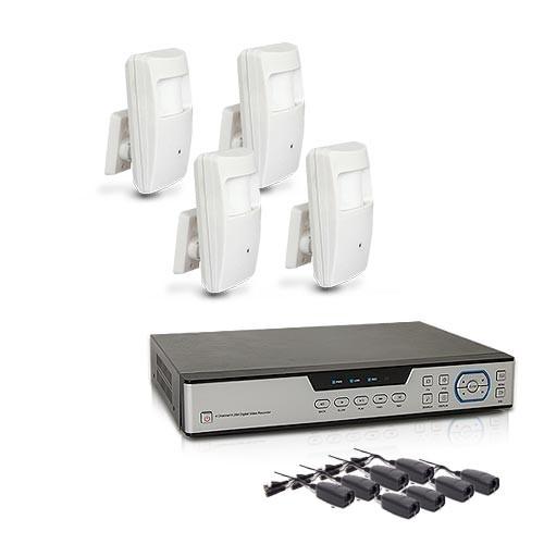 Kit vidéosurveillance avec enregistreur IP 1 TO et 4 caméras cachées AHD 1080P détecteur de présence