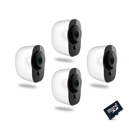 Kit de 4 Smart caméra alarme Wi-Fi HD 1080P, 64Go,