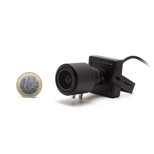 Micro caméra carrée couleur 650 lignes avec micro objectif varifocale 4-9 mm