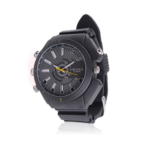 Montre Fashion waterproof caméra audio vidéo HD 1080p 16Go avec infrarouge invisible