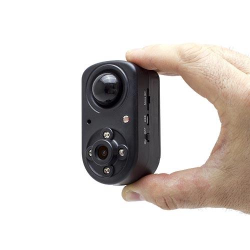 Mini caméra HD 1080P, grand angle 120°, vision nocturne invisible, détection de mouvement PIR,  longue autonomie avec 64 Go