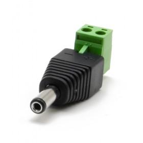 Connecteur d'alimentation Jack DC mâle avec bornier détachable Ø extérieur 5.5 mm, intérieur 2.1mm