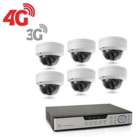 Kit de vidéosurveillance 3G 4G intérieur/extérieur avec enregistreur IP 1To et 6 caméras dôme HD 1080P WIFI