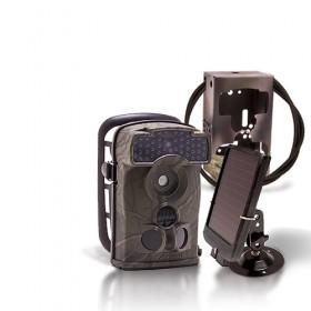 Caméra de chasse autonome HD 720P IR invisible avec batterie solaire & box anti-vandale
