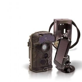 Caméra de chasse autonome HD 1080P IR invisible avec batterie solaire et box anti-vandale