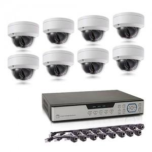 Kit de vidéosurveillance intérieur/extérieur avec enregistreur IP 1To et 8 caméras dôme HD 1080P PoE