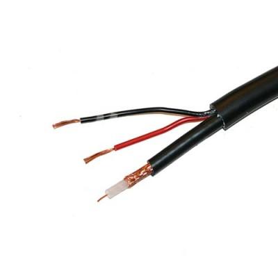 Câble hybride coaxial vidéo 75Ω + alimentation RX50 noir gaine ronde souple
