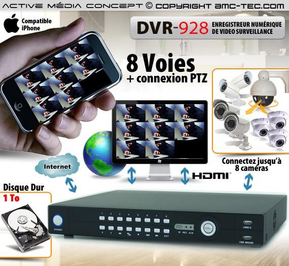 Enregistreur de vidéo surveillance 8 canaux,1 To avec accès  smartphone et internet
