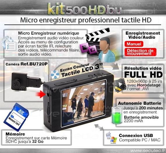 Kit micro caméra enregistreur professionnel HD description