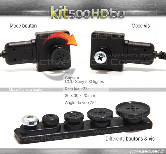 Kit micro caméra enregistreur professionnel HD vue camera