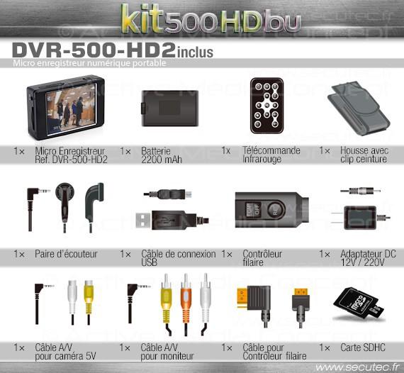 Kit micro caméra enregistreur professionnel HD accessoires 2