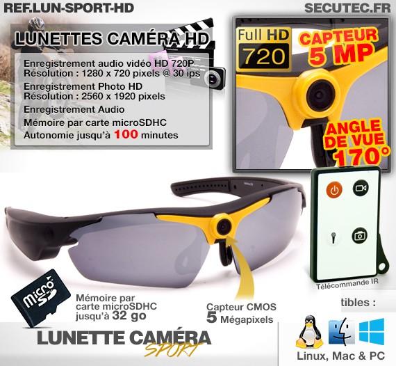 Fonctionnalités de la caméra lunettes de soleil