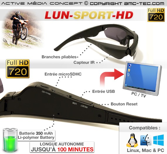 Lunettes caméra sport HD description