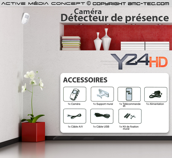 d tecteur de pr sence cam ra hd 720p. Black Bedroom Furniture Sets. Home Design Ideas