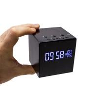 Horloge réveil alarme enceinte bluetooth micro caméra IP WiFi HD avec vision nocturne microSD 128 Go incluse