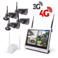 Kit vidéosurveillance 3G 4G avec 4 caméra WiFi HD 1080P et un écran LCD 12.5 récepteur enregistreur HDD 1To