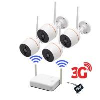 Kit vidéosurveillance 3G avec 4 caméras WiFi HD 1080P enregistrement par détecteur de mouvement PIR et alerte push sur smartphone audio bidirectionnelle