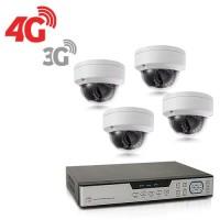 Kit de vidéosurveillance 3G 4G intérieur extérieur avec enregistreur IP 1To et 4 caméras dôme UHD 5Mpx WIFI