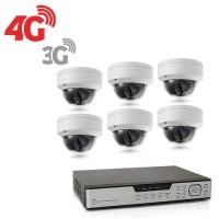 Kit de vidéosurveillance 3G 4G intérieur extérieur avec enregistreur IP 1To et 6 caméras dôme UHD 5Mpx WIFI