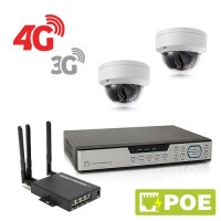 Kit de vidéosurveillance 3G 4G intérieur extérieur avec enregistreur IP 1To et 2 caméras dôme UHD 5 Mpx PoE