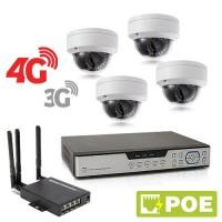 Kit de vidéosurveillance 3G 4G intérieur extérieur avec enregistreur IP 1To et 4 caméras dôme UHD 5 Mpx PoE