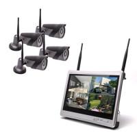 Kit vidéosurveillance WiFi 4 caméra HD 1080P avec écran LCD 12.5 récepteur enregistreur HDD 1To