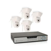 Enregistreur hybride 4 voies 1 To avec 4 caméras HD IP/WiFi intérieures