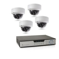 Kit de vidéosurveillance intérieur extérieur avec enregistreur IP 1To et 4 caméras dôme UHD 5 Mpx WIFI