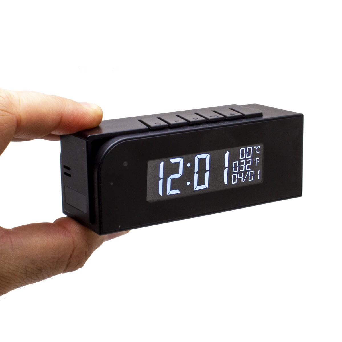 Horloge température de bureau avec micro caméra IP Wi-Fi HD avec vision nocturne microSD 128 Go incluse