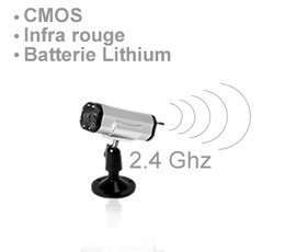 Caméra sans fil additionnelle CMOS 380 lignes 2,4Ghz infra rouge et batterie lithium intégrée