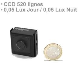 Micro camera filaire couleur CCD 520 lignes jour nuit et objectif pinhole
