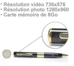 Stylo enregistreur audio vidéo 736x576 pixels sur une micro carte SD 8Go