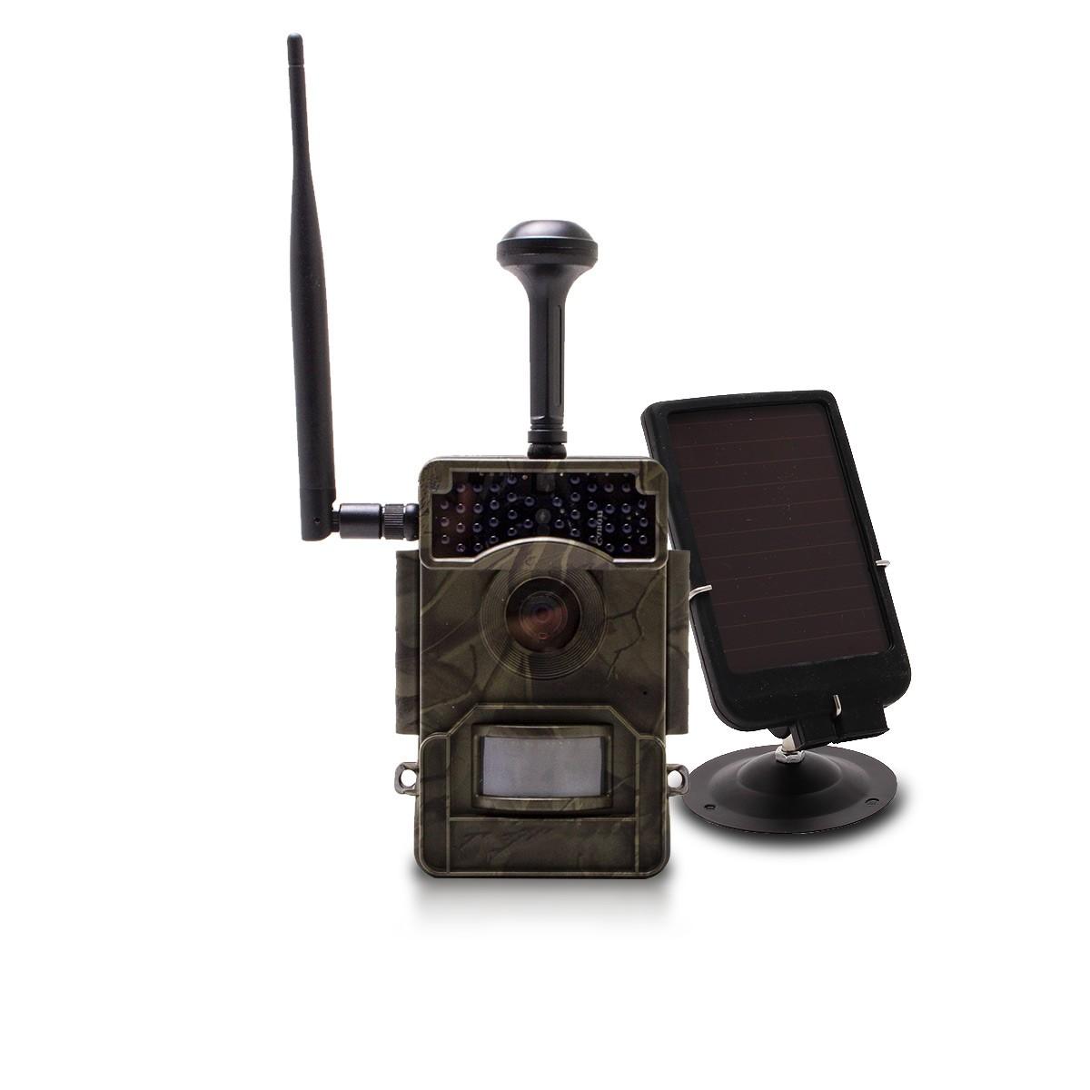 Caméra de chasse HD 1080P IR invisible GPS GSM 4G alerte push envoi photo et vidéo sur application iOS et Android serveur cloud e-mail et FTP avec batterie solaire