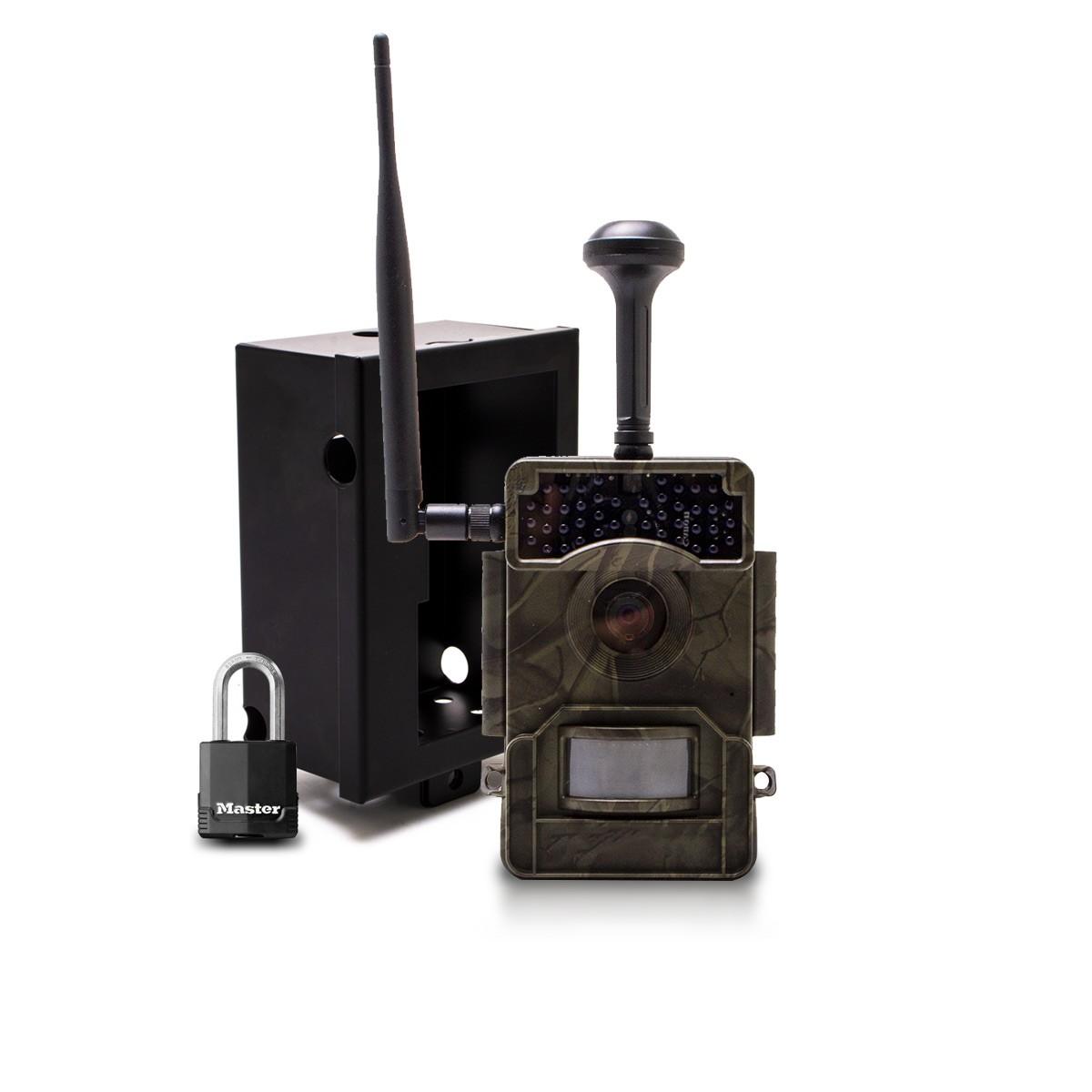 Caméra de chasse HD 1080P IR invisible GPS GSM 4G alerte push envoi photo et vidéo sur application iOS et Android serveur cloud e-mail et FTP avec box antivandale