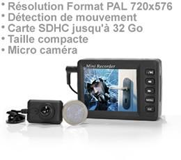Kit micro caméra cachée et enregistreur audio video 720 x 576 px sur carte SDHC