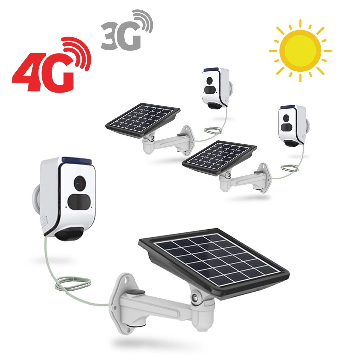 Kit 3 caméras solaires 3G 4G IP Wi-Fi extérieures HD 720P