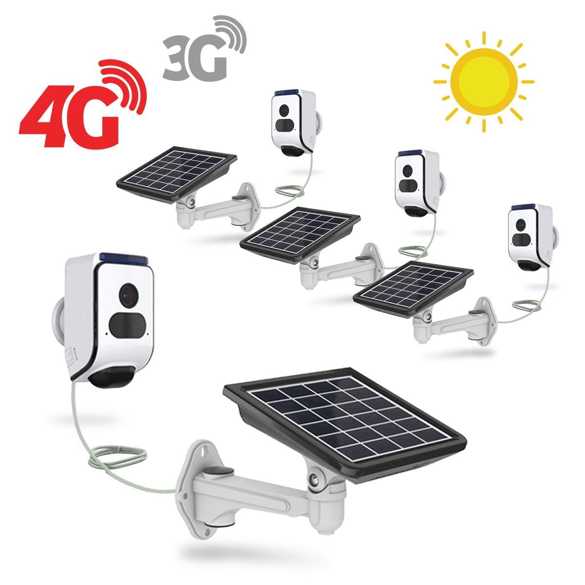 Kit 4 caméras solaires 3G 4G IP Wi-Fi extérieures HD 720P