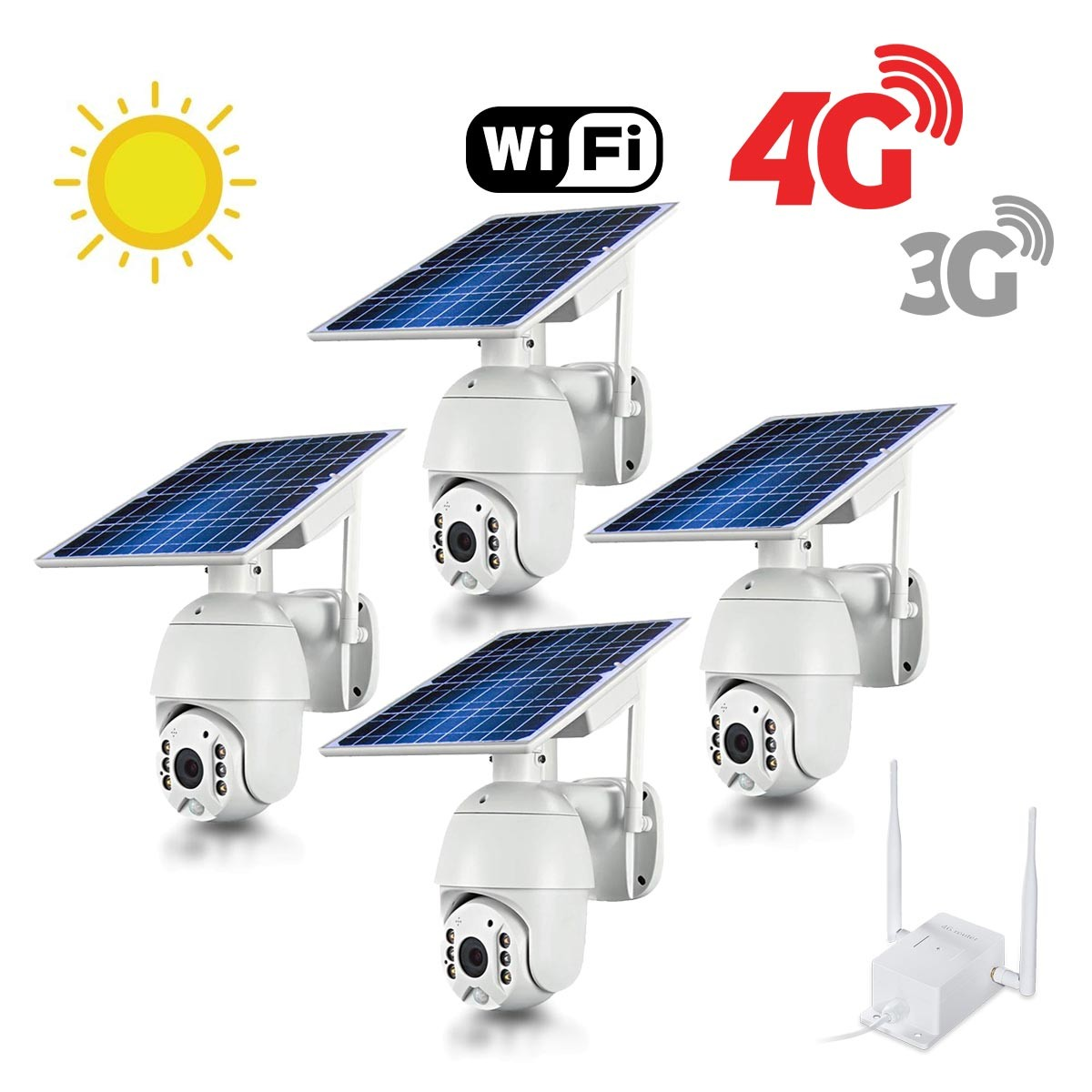 Kit 4 caméras pilotables solaires Wifi HD 1080P waterproof Infrarouges accès à distance via iPhone Android 64 Go inclus avec routeur GSM 3G 4G WiFi