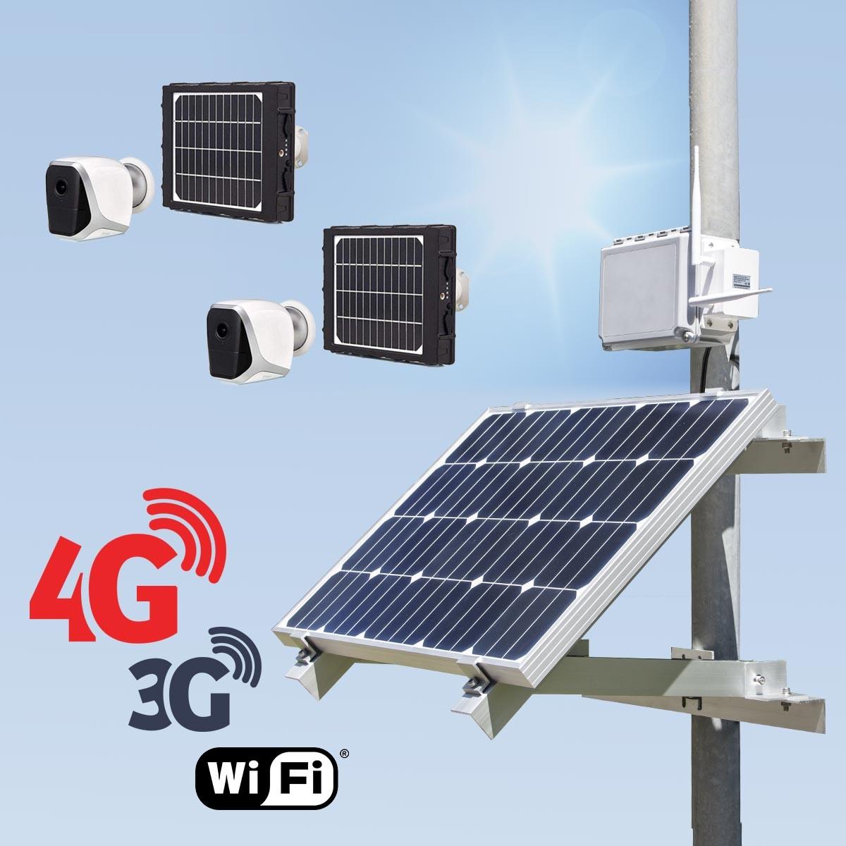 Kit vidéosurveillance 3G 4G autonome solaire avec 2 smart caméra solaire WiFi HD 1080P 64 Go